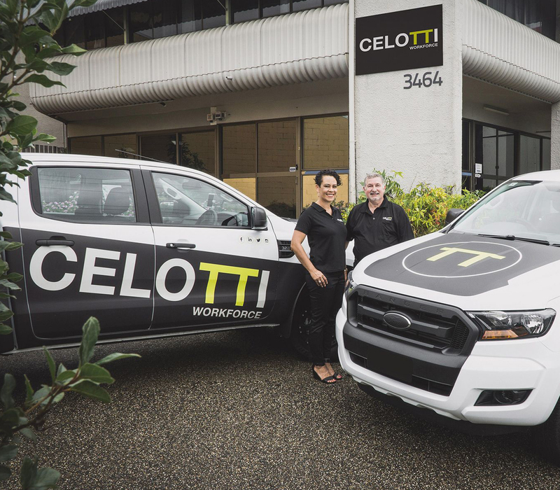 Recruitment consultants at Celotti Workforce Brisbane office with their branded Ford Rangers