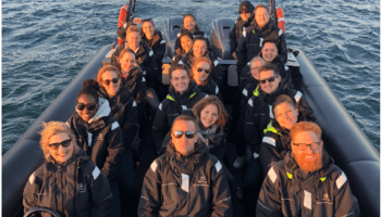 whale watching group photo
