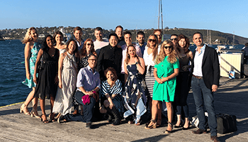 group photo at the habour