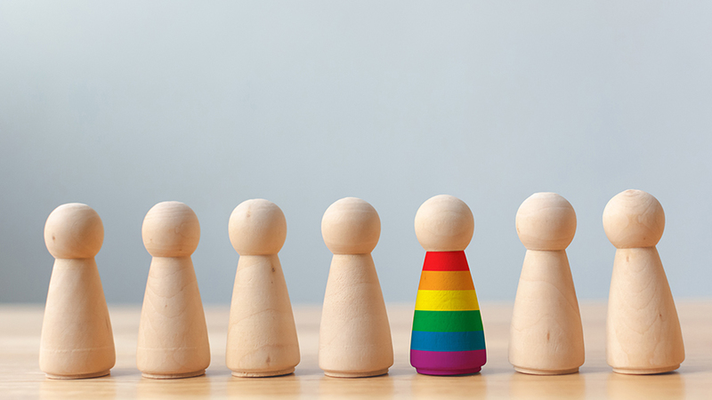 Wooden dolls with rainbow colours