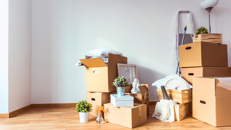 Boxes with household items