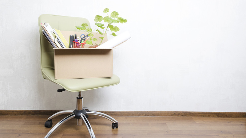 Desk chair with box of stationary